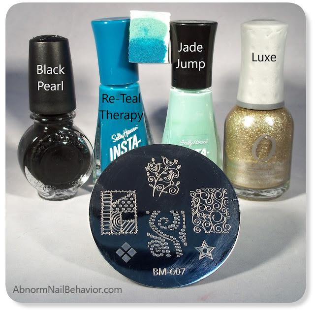 nail stamping black gold teal nail polish