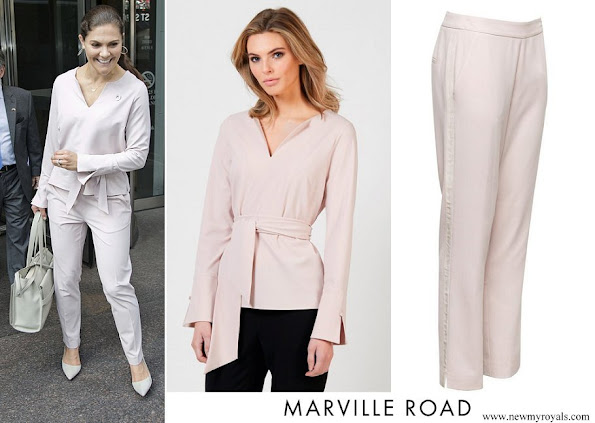 Crown Princess Victoria wore MARVILLE ROAD Oliviette Blouse and trousers Dusty Pink