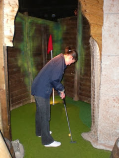 Emily Gottfried at the Golden Isle Indoor Adventure Golf course in Blackpool