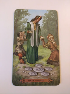 Six of Pentacles from the Modern Spellcaster's Tarot deck