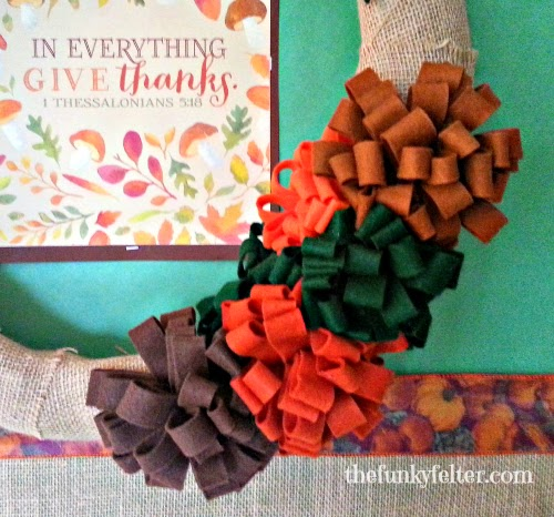 give thanks wreath with handmade felt flowers craft tutorial