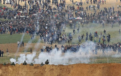 IDF trying to disperse the march and the protests at the borders with Gaza