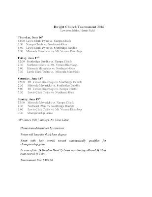 2016 Dwight Church Schedule