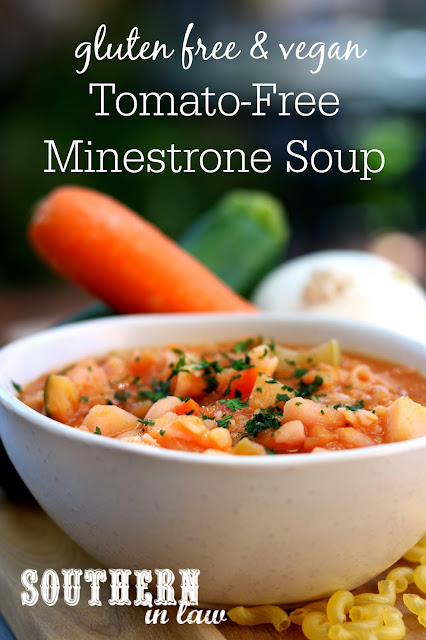 Easy Tomato Free Minestrone Soup Recipe - gluten free, vegan, dairy free, egg free, healthy, low fat, clean eating recipe, meal prep, freezer friendly recipe