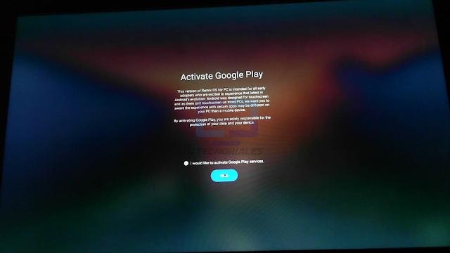 Activar Google Play Store y servicios de Google.