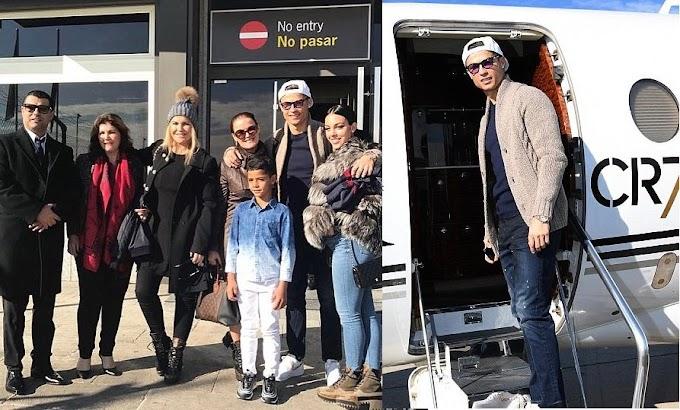 Cristiano Ronaldo and family fly to Paris as he prepares to pick up his fifth Ballon d'Or award (Photos)