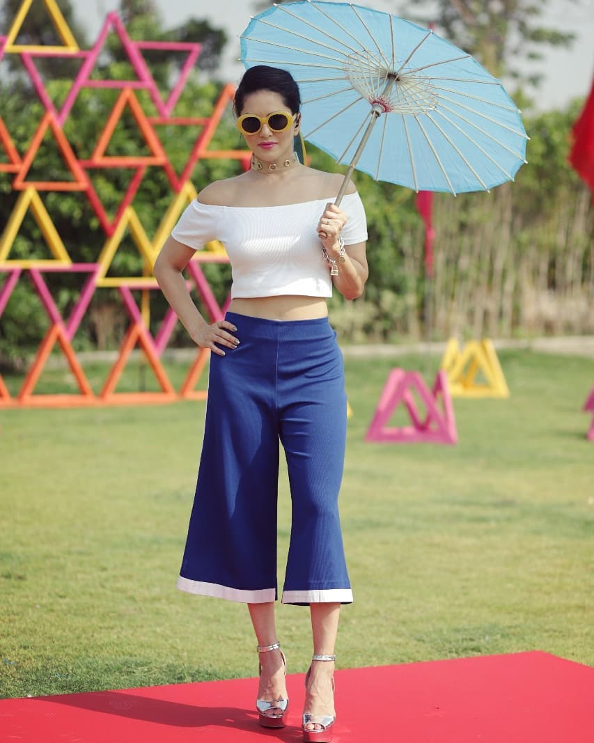 Sunny Leone's white Culottes Photos