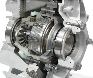 Limited slip differential with friction clutches.