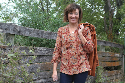 Style Maker Fabrics' Paisley Cotton Gauze made into peasant style blouse, Butterick 6378