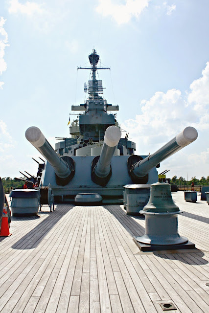 Staring down the guns on the Battleship North Carolina in Wilmington, NC.