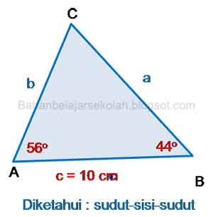 Penggunaan aturan sinus pada segitiga