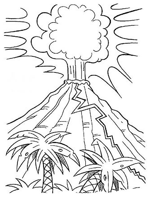 Gambar Mewarnai Gunung Merapi - 5
