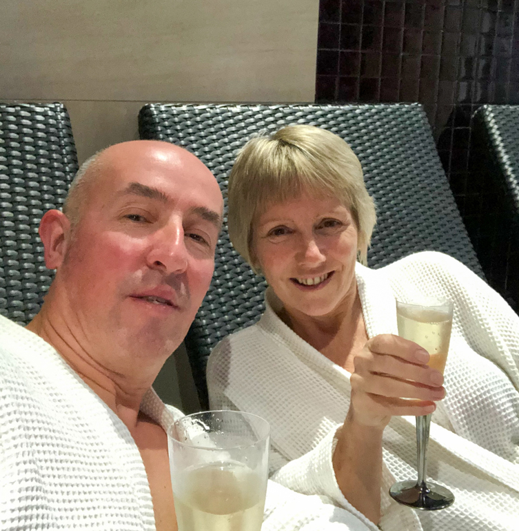Drinking Prosecco in the Spa