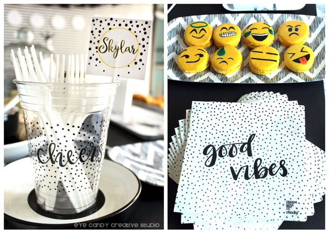 cheers cup, good vibes, #cheeky, emoji macarons, emoji birthday