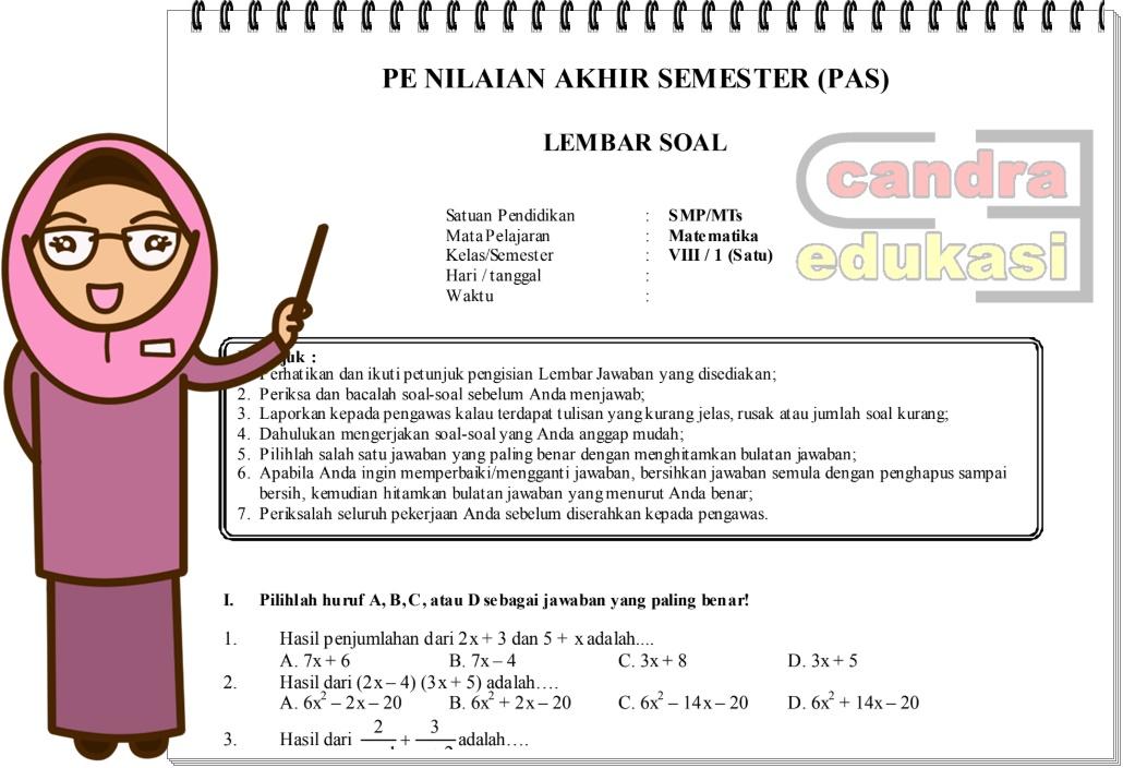 Soal Uas Matematika Kelas 8 Semester 1 Teori Dan Soal