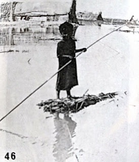 Madan child with rudimentary reed raft