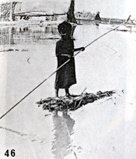 Madan child with rudimentary reed raft