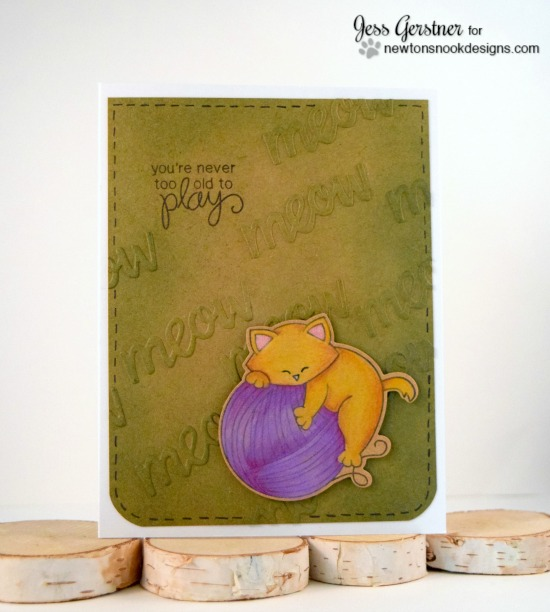 Cat and Yarn Card by Jess Gerstner | Newton Unwinds Stamp Set & Die Set by Newton's Nook Designs #newtonsnook