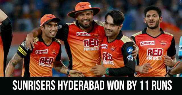 Sunrisers Hyderabad won by 11 runs
