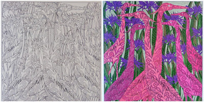 Hidden in the Jungle coloring page before and after