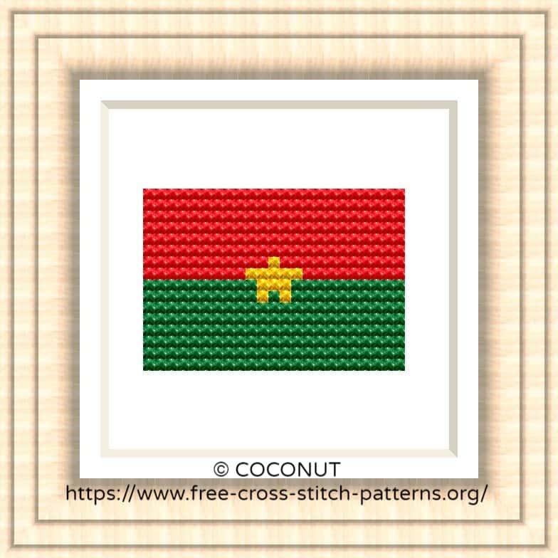 NATIONAL FLAG OF BURKINA FASO CROSS STITCH CHART
