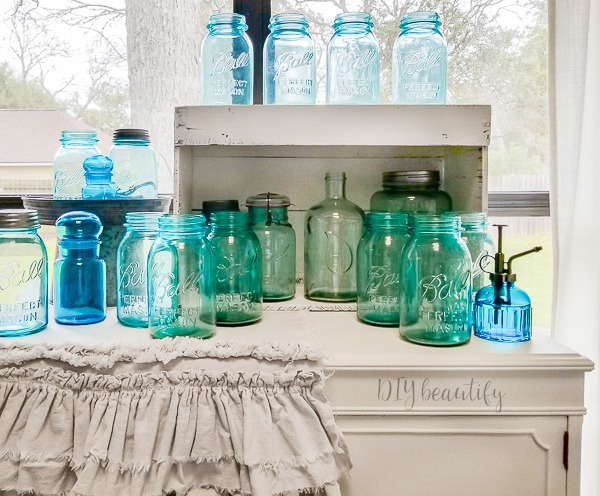 vintage blue mason jar collection