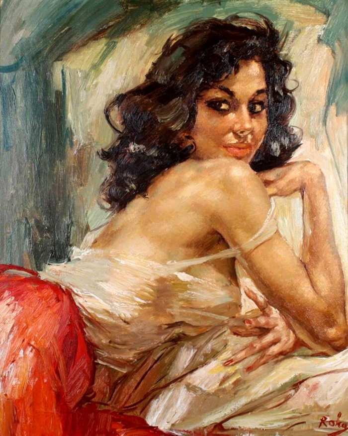 Charles Roka 1912-1999 | Hungarian-born Norwegian painter | Vintage portrait