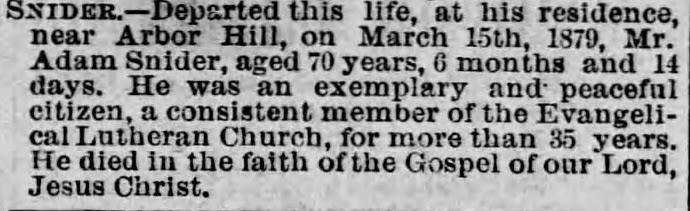 Death Notice Adam Snider from March 25, 1879 Staunton Spectator