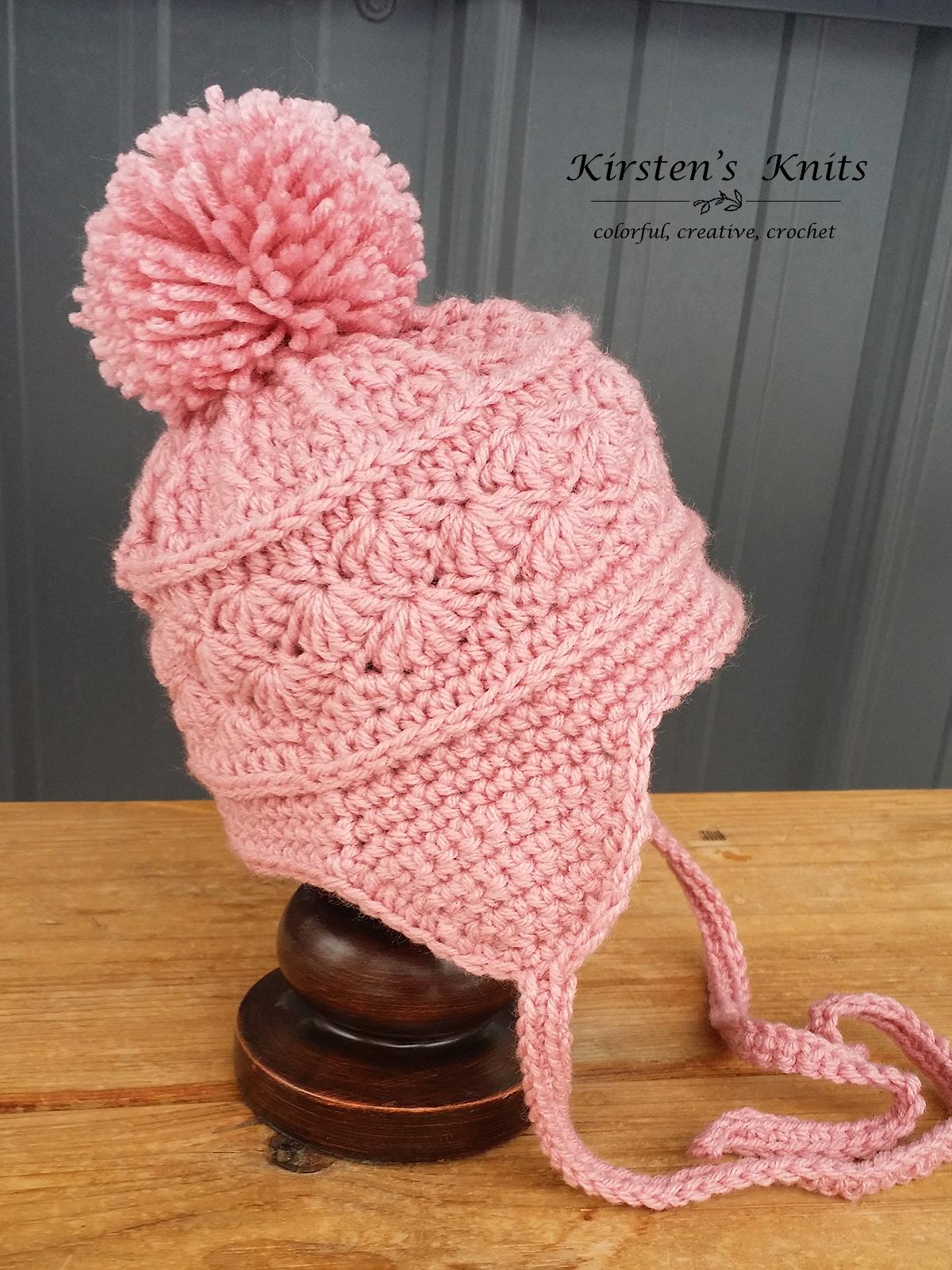 Pattern la vie en rose earflap hat kirsten holloway designs la vie en rose earflap or ski hat 3 6 months side bankloansurffo Images