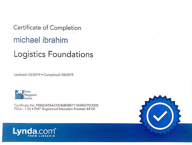 logistics fundamental certificate from lynda