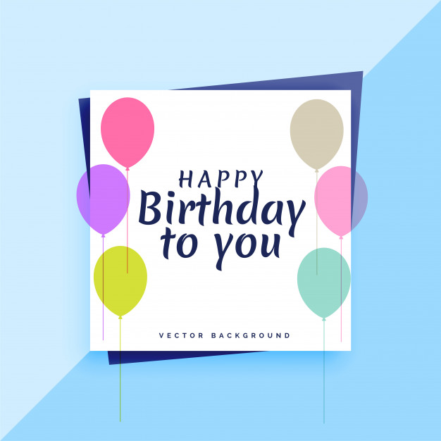 Elegant happy birthday card design with colorful balloons Free Vector