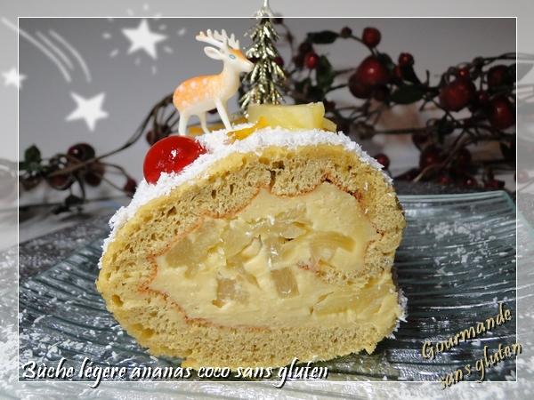 Bûche de Noël légére coco ananas sans gluten