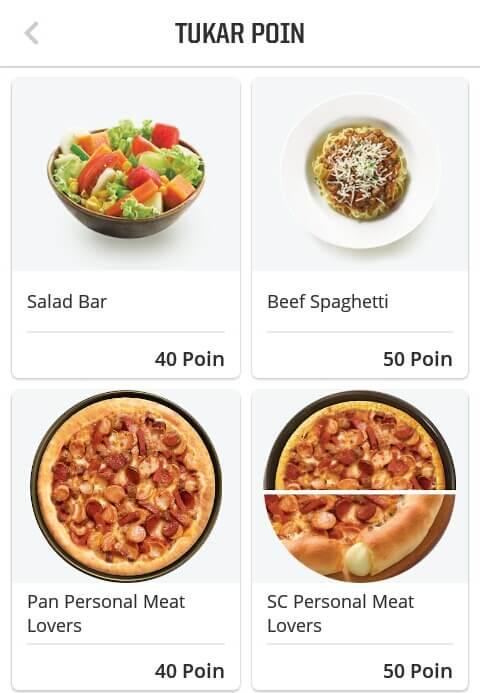 """Kumpulkan Poin sebanyak-banyaknya, hingga minimal 40 Poin untuk memperoleh Pizza Pan Personal Meat Lovers. Kemudian pilih menu makanan mana yang Anda inginkan dan pilih """"Dine In"""" (makan ditempat) atau """"Takeaway"""" (bawa pulang) dan ikuti petunjuk selanjutnya."""
