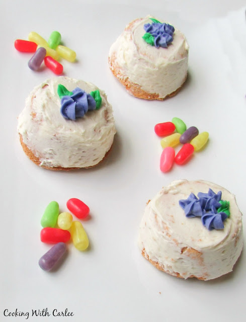 upside down angel food cupcakes with sweetened condensed milk frosting