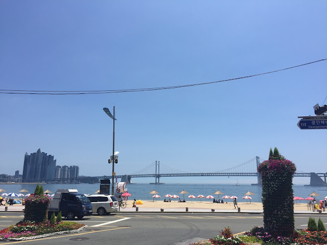 Gwangalli Beach in Busan is a large beach on the edge of the city surrounded by great restaurants and bars. An excellent place to spend a summer day!