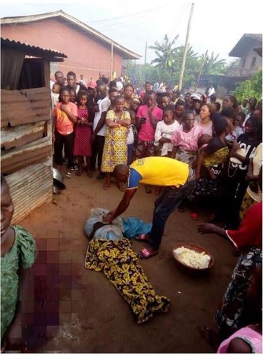 A Ritualists Harvest Woman's Vital Organs After he Beheading Her In Front Of Her House in Delta state