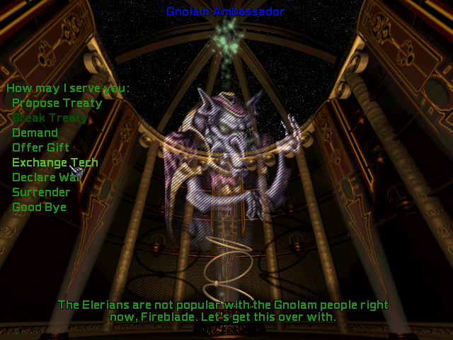 Screenshot of the Gnolam Ambassador from Master of Orion II