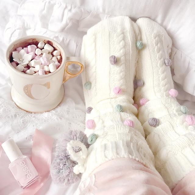 Love, Catherine | Cosy Pastel Pom Pom Socks