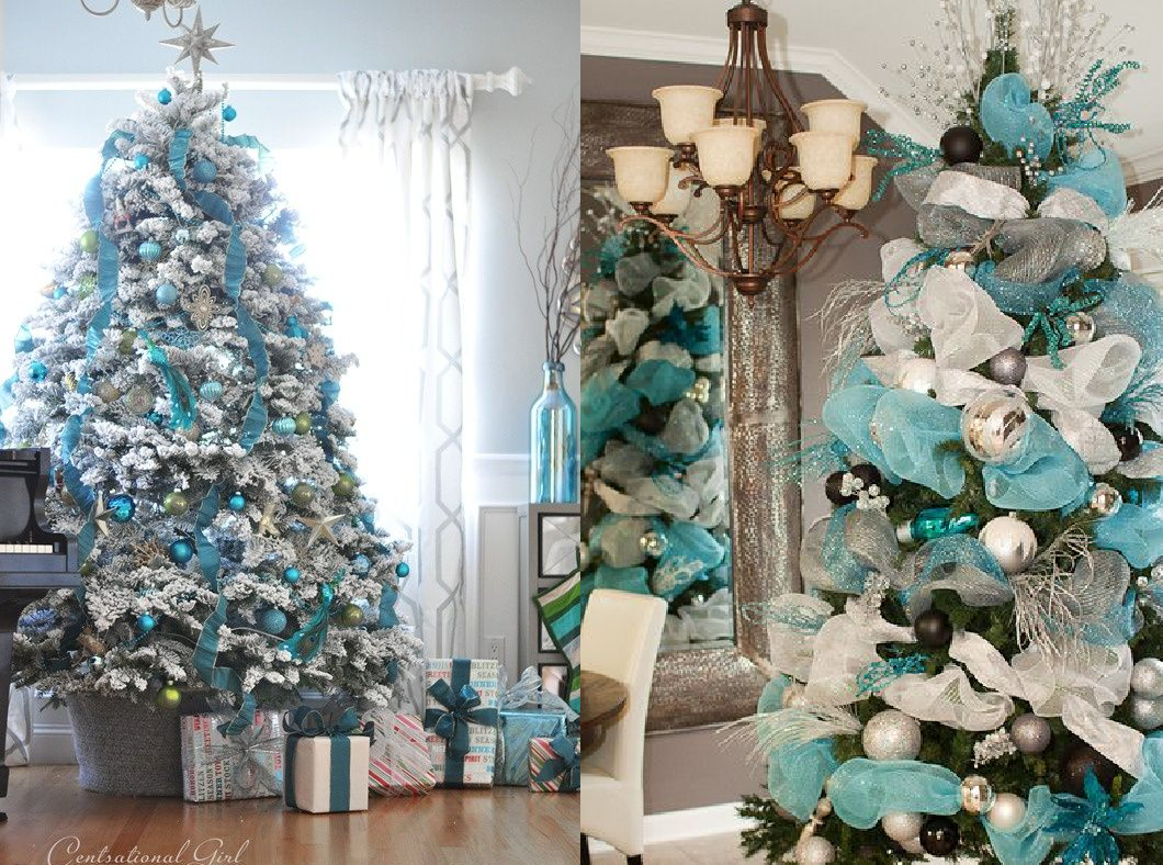 Decoracin navidea en azul blanco y plata  CASAS IDEAS