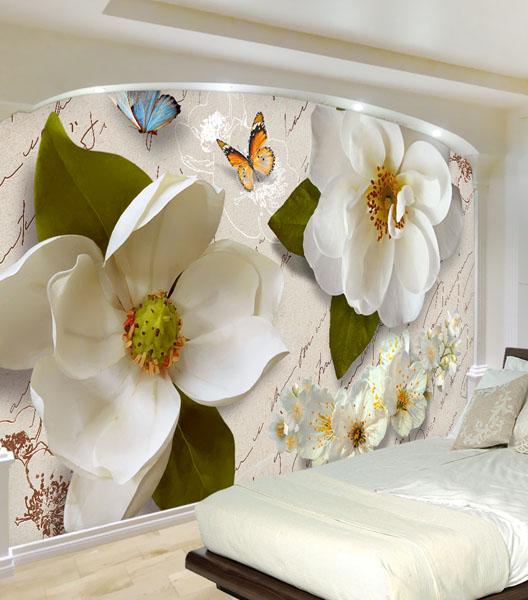 Фотоошпалери Білі квіти в интер'єрі спаьні