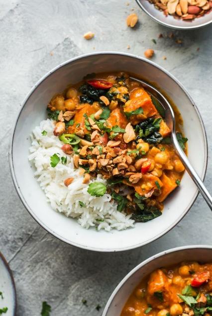 vegan peanut curry sweet potato
