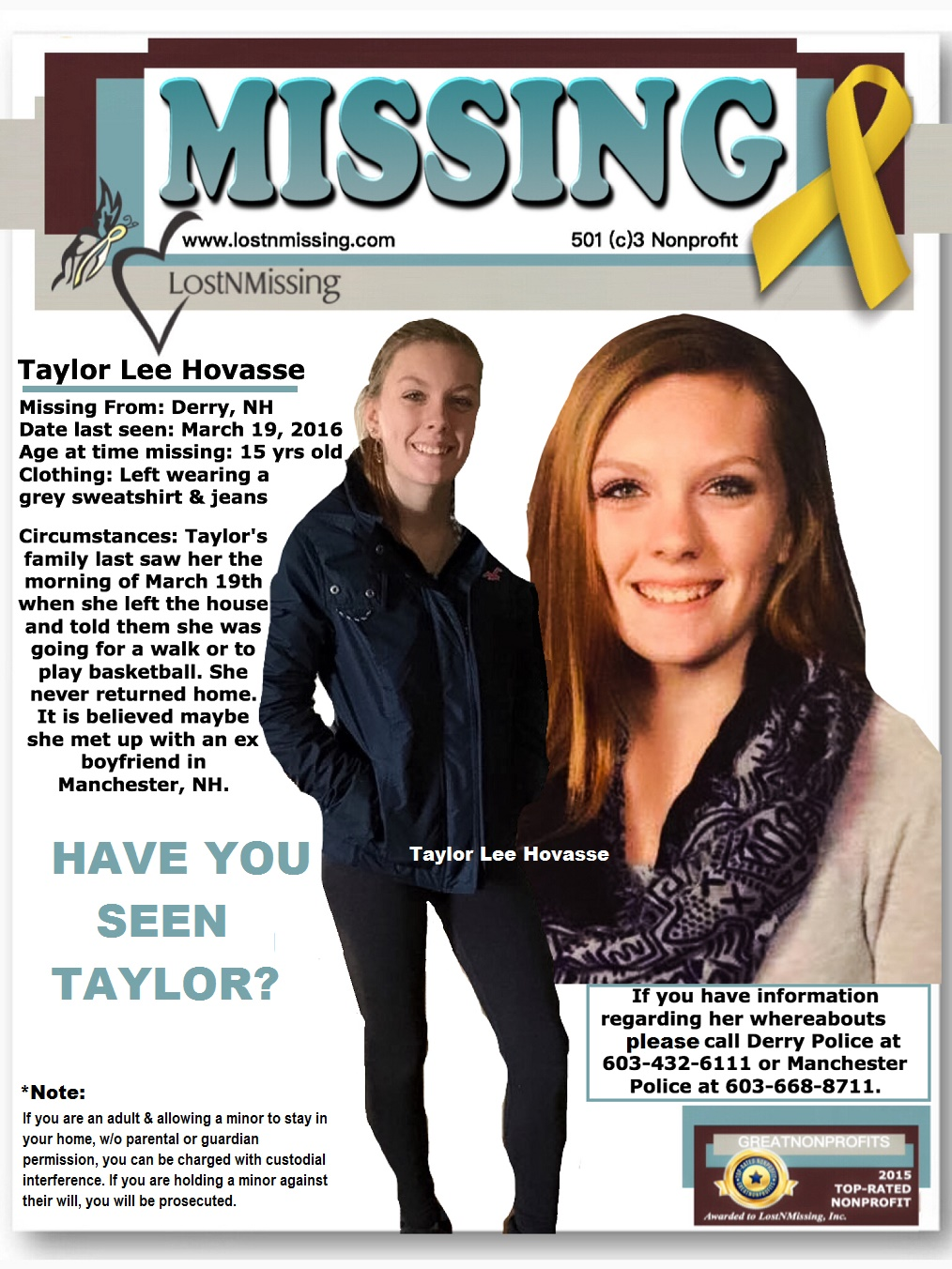 Missing 15 Year Old Girl Found: LostNMissing, Inc: Missing: Taylor Lee Hovasse,15