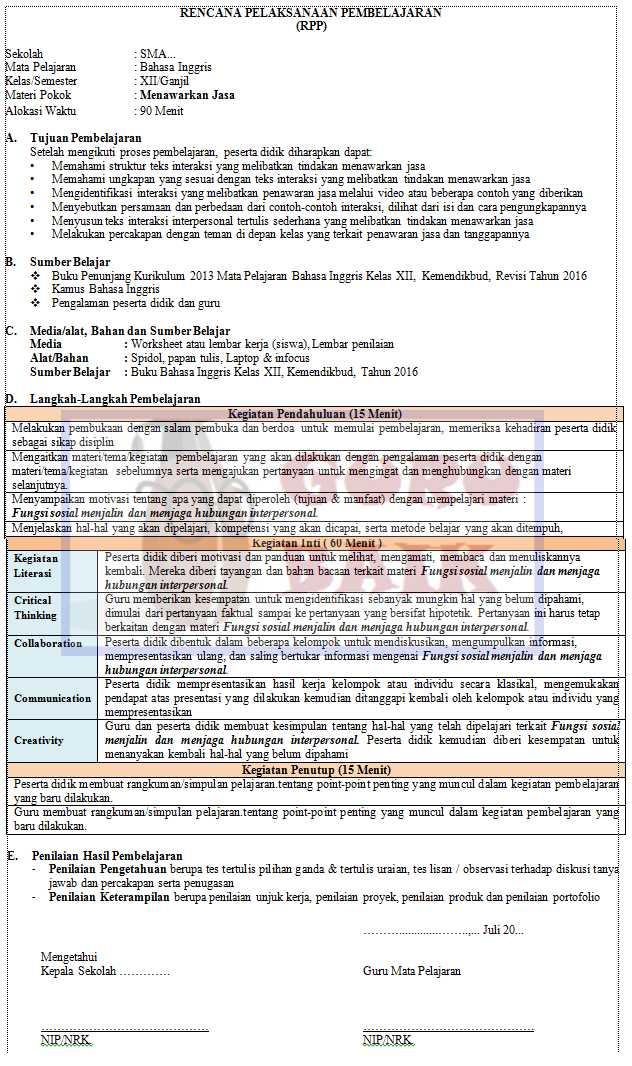 gambar contoh RPP 1 lembar bahasa inggris kelas 12 revisi trbaru