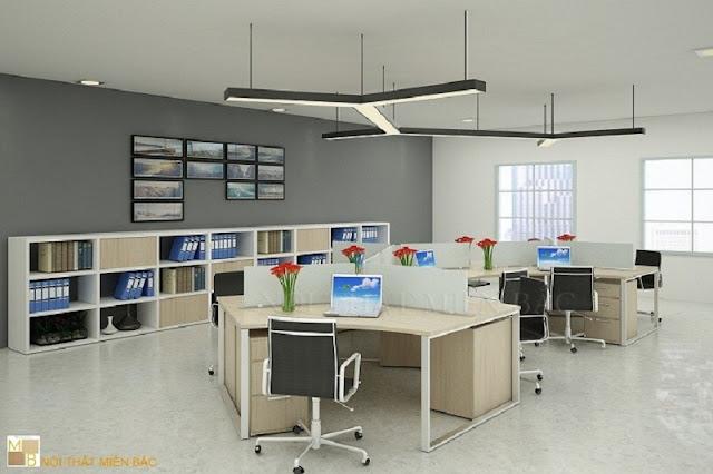 Thiết kế nội thất phòng làm việc cho mẫu không gian này là gam màu nhẹ như lấn át không gian tạo sự hài hòa cho căn phòng