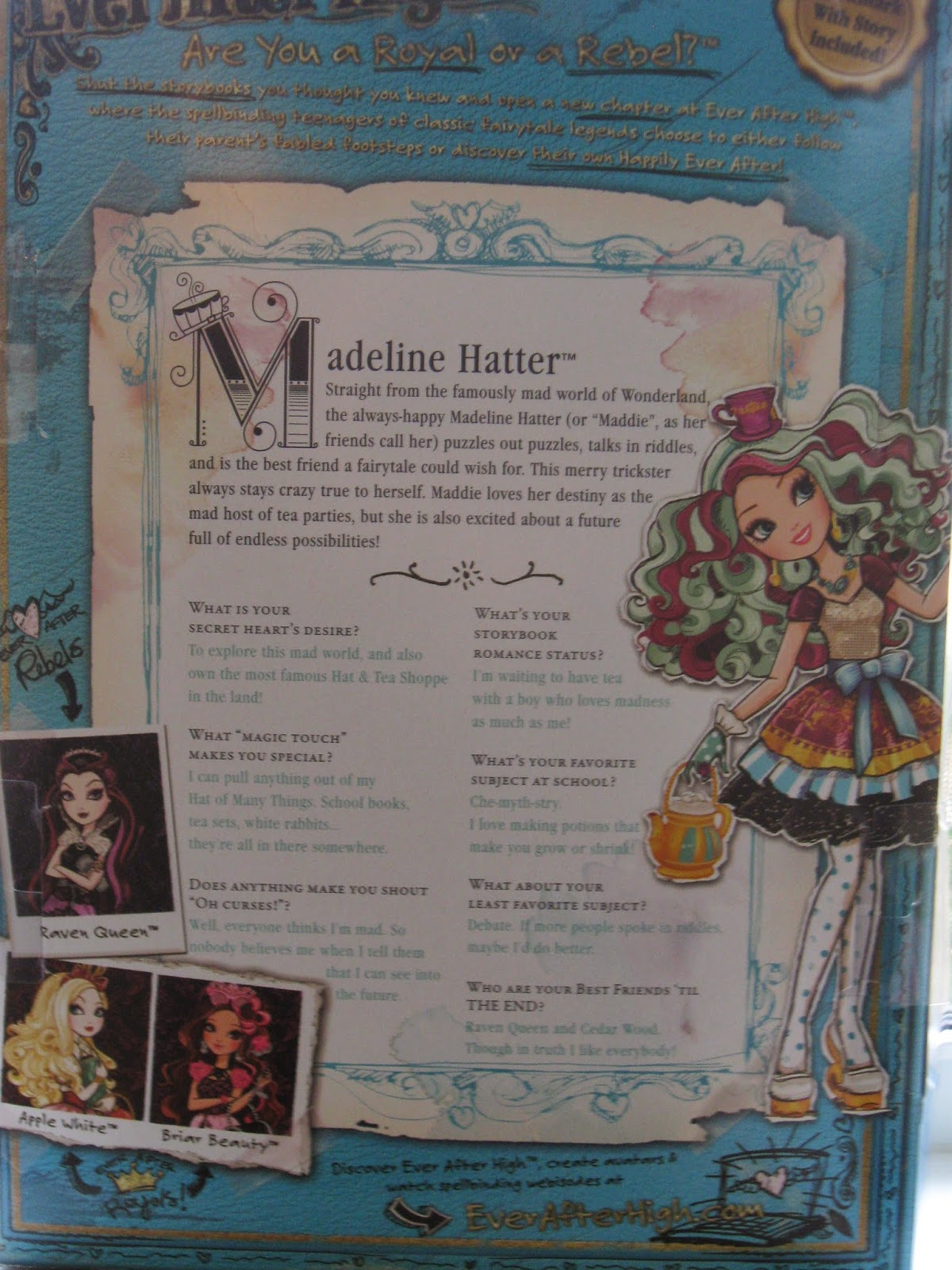 Book Covering Contact Kmart Seastar Studios Opening Ever After High Doll Madeline Hatter