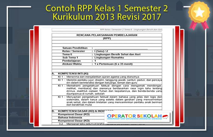 Contoh RPP Kelas 1 Semester 2 Kurikulum 2013 Revisi 2017