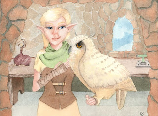 Falconer With Owl Watercolor Illustration