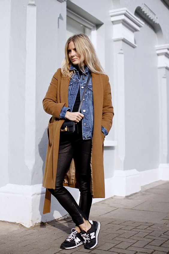 Lucy Williams - Long Camel Coat + Denim Jacket Layers