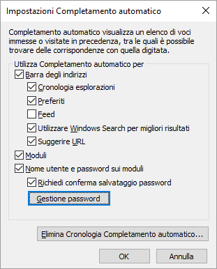 Gestione password