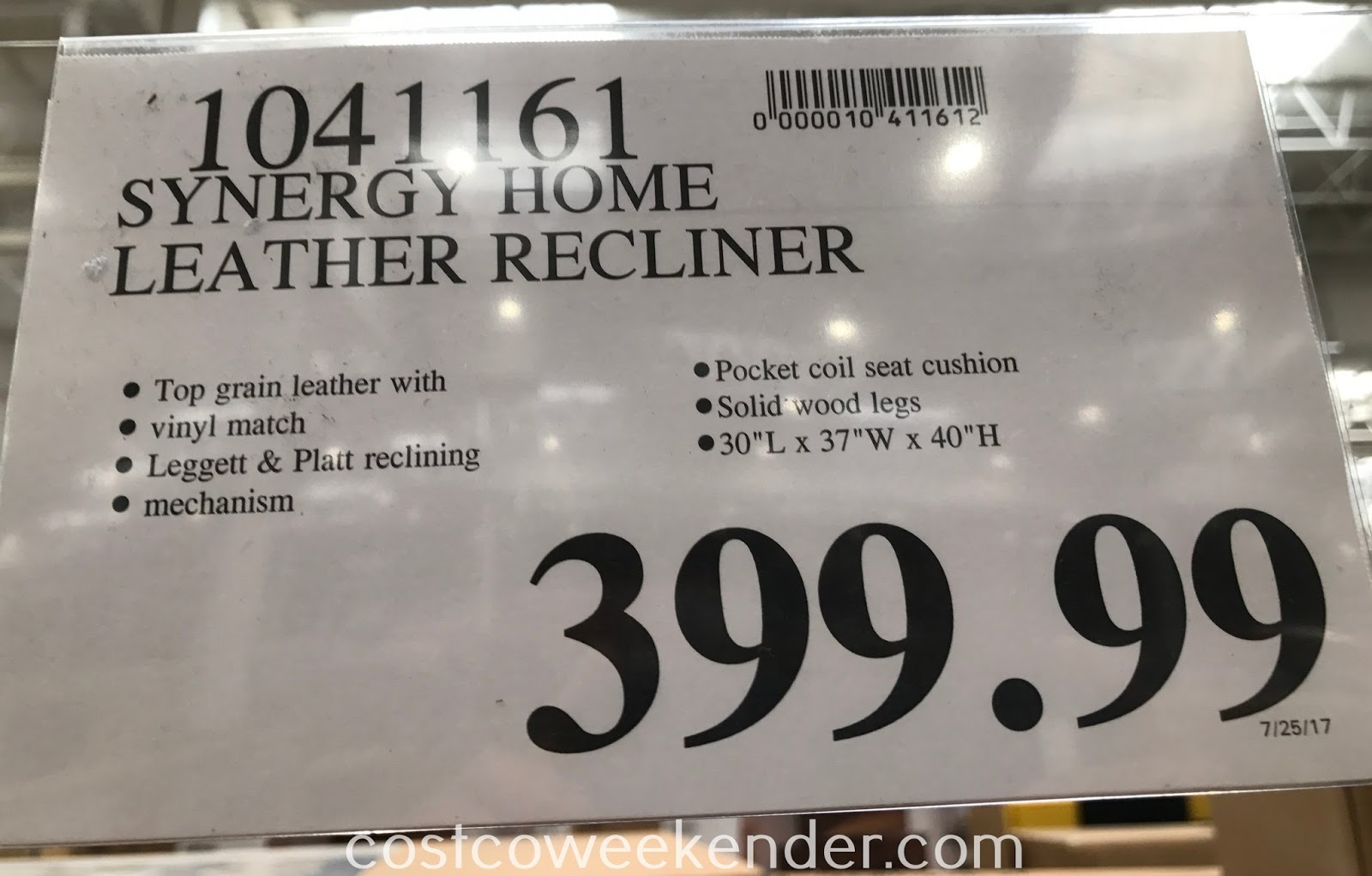 Deal for the Synergy Home Leather Recliner at Costco